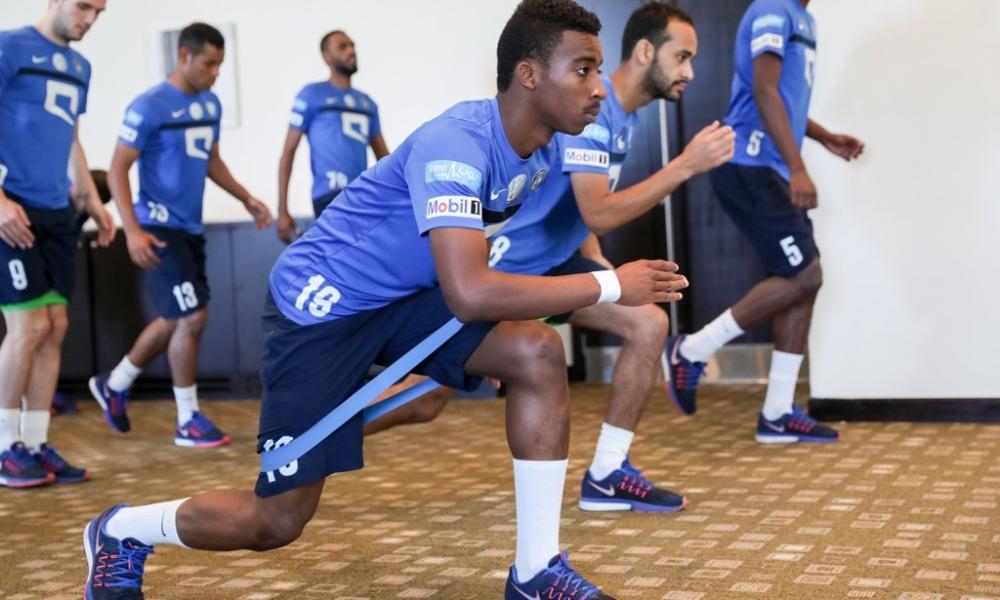 لاعبو الهلال في الحصة التدريبية. (المركز الإعلامي)