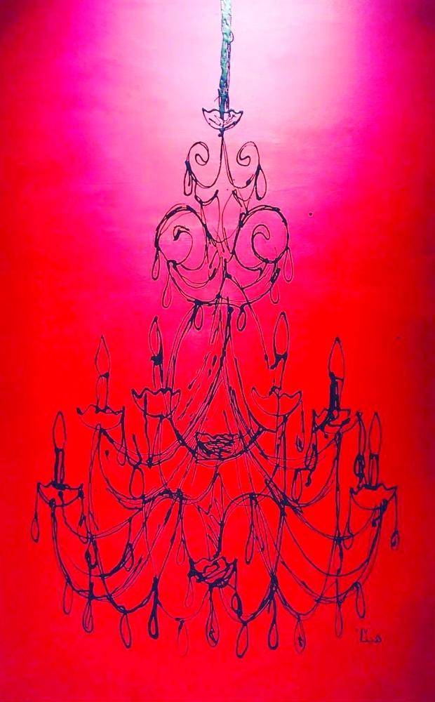 اللوحتان المشاركتان للأميرة هيفاء بنت عبدالله فن التقطير بمعرض «خطوط 2» بجدة أخيراً.