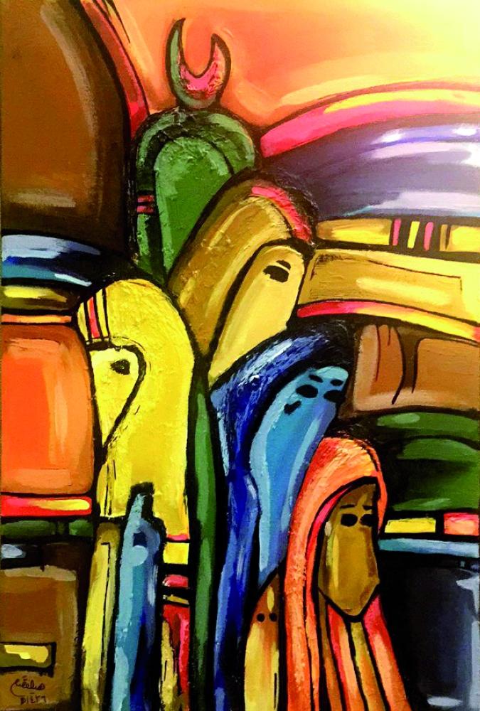 إحدى اللوحات في المعرض الذي أقيم على هامش الملتقى.