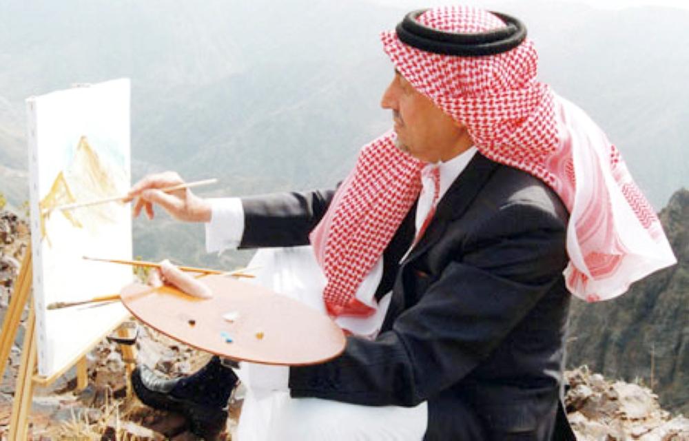الأمير خالد الفيصل يرسم.