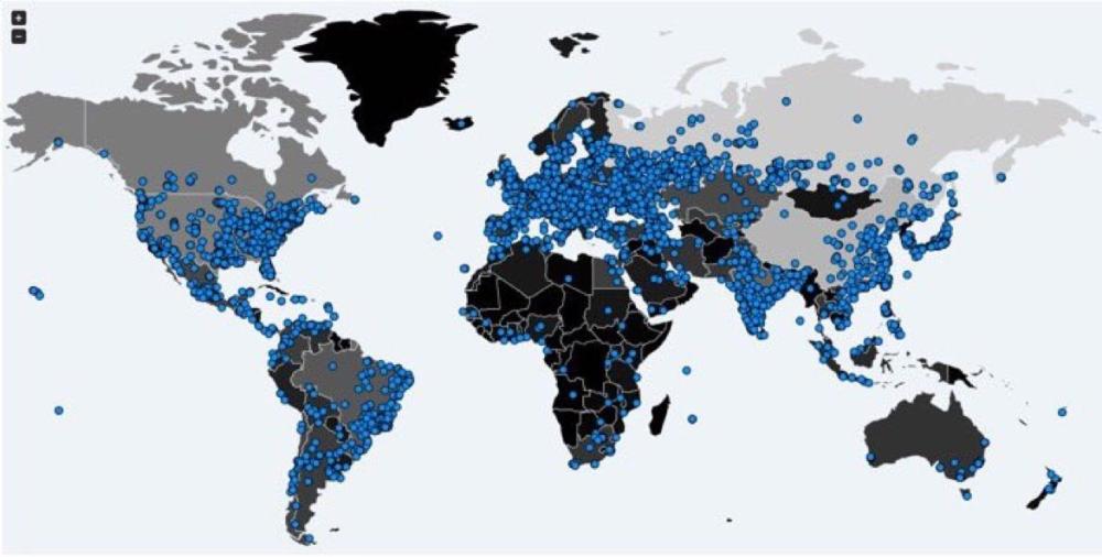 خريطة من موقع «إنتل» تشير إلى إصابة السعودية بفايروس الفدية.