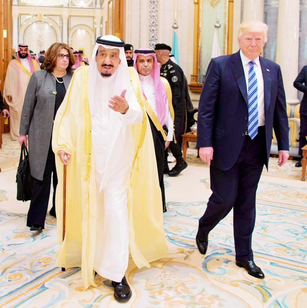 الملك سلمان مرحبا بالرئيس الأمريكي.
