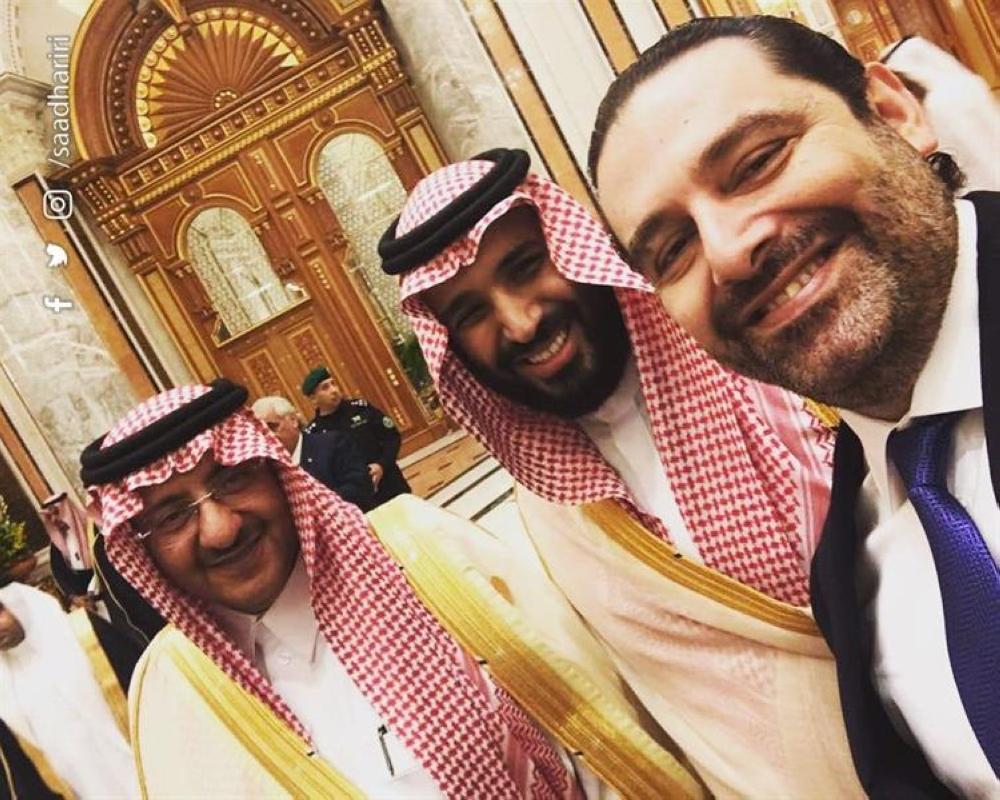 سيلفي يجمع ولي العهد وولي ولي العهد برئيس الوزراء اللبناني