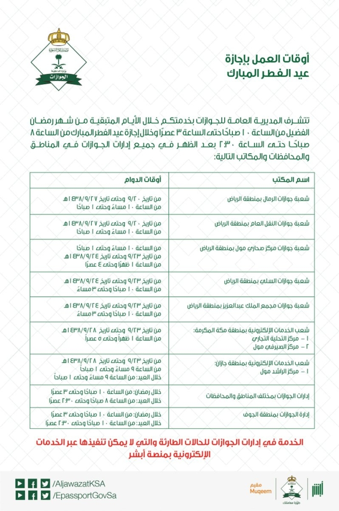 الجوازات تعلن مواعيد العمل في أوأخر رمضان وأيام العيد أخبار السعودية صحيفة عكاظ