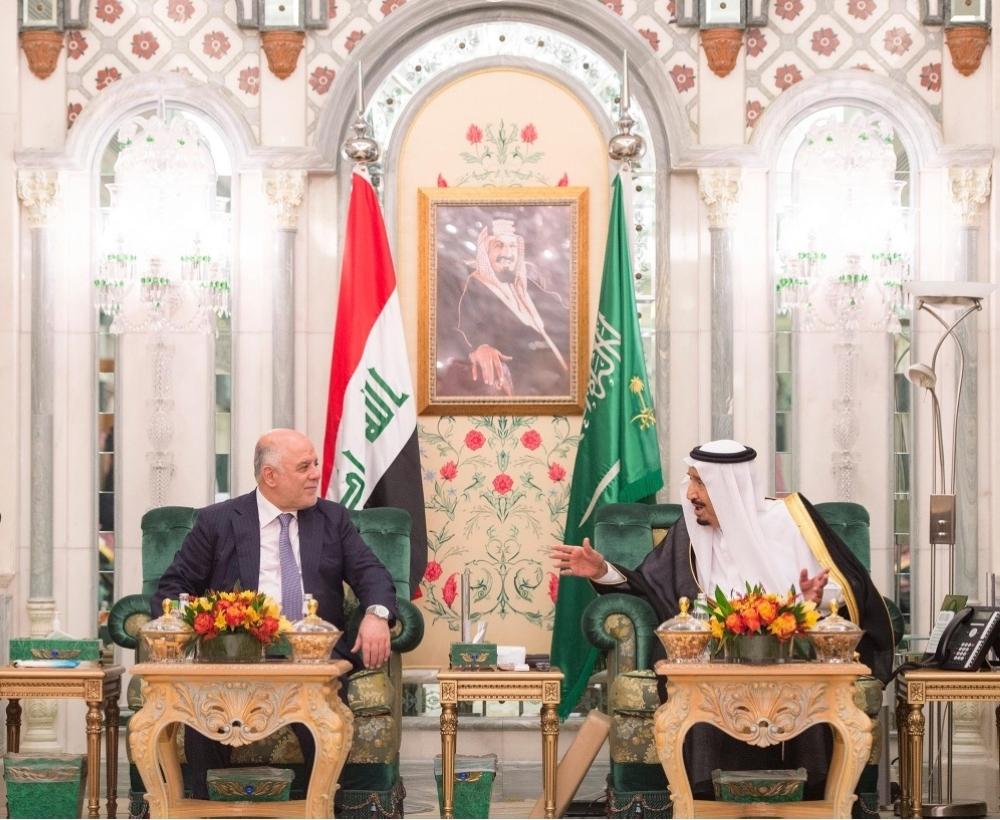 خادم الحرمين يعقد جلسة مباحثات مع رئيس وزراء العراق