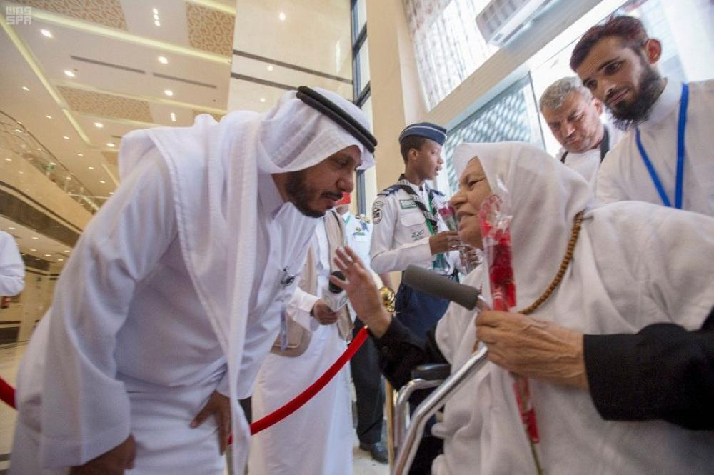 Relatives of Palestinian martyrs accorded a warm welcome on arrival in Jeddah for Haj. — SPA
