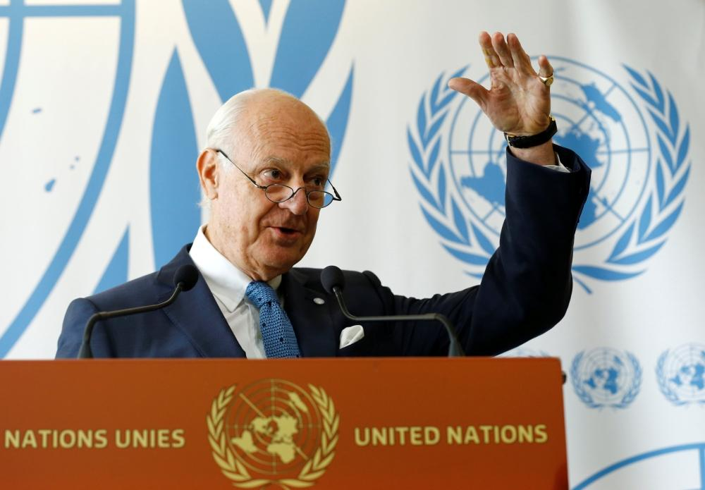 UNited Nations Special Envoy for Syria Staffan de Mistura attends a news conference at the UNited Nations office in Geneva, Switzerland, September 6, 2017.