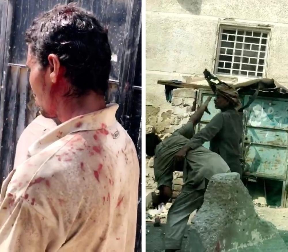 لقطة من فيديو تعنيف الابن.. وتظهر الدماء على رأسه وملابسه