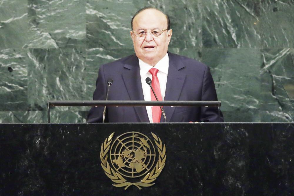الرئيس اليمني عبد ربه منصور هادي خلال إلقاء كلمته أمام الجمعية العمومية في نيويورك أمس.(رويترز)