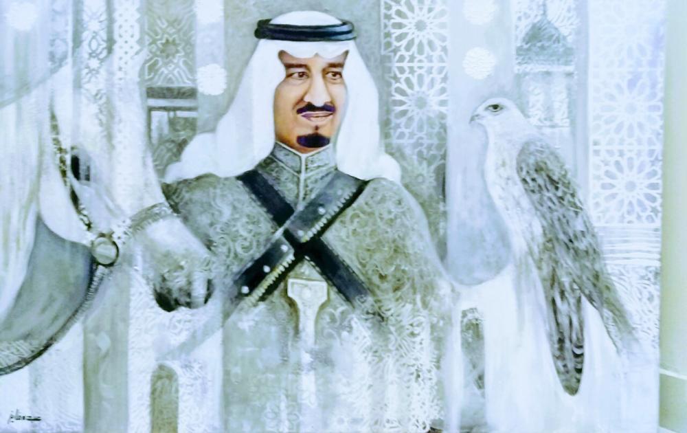 لوحة تشكيلية بعنوان «سلمان المجد» للفنان التشكيلي عبده الفايز. (عكاظ)
