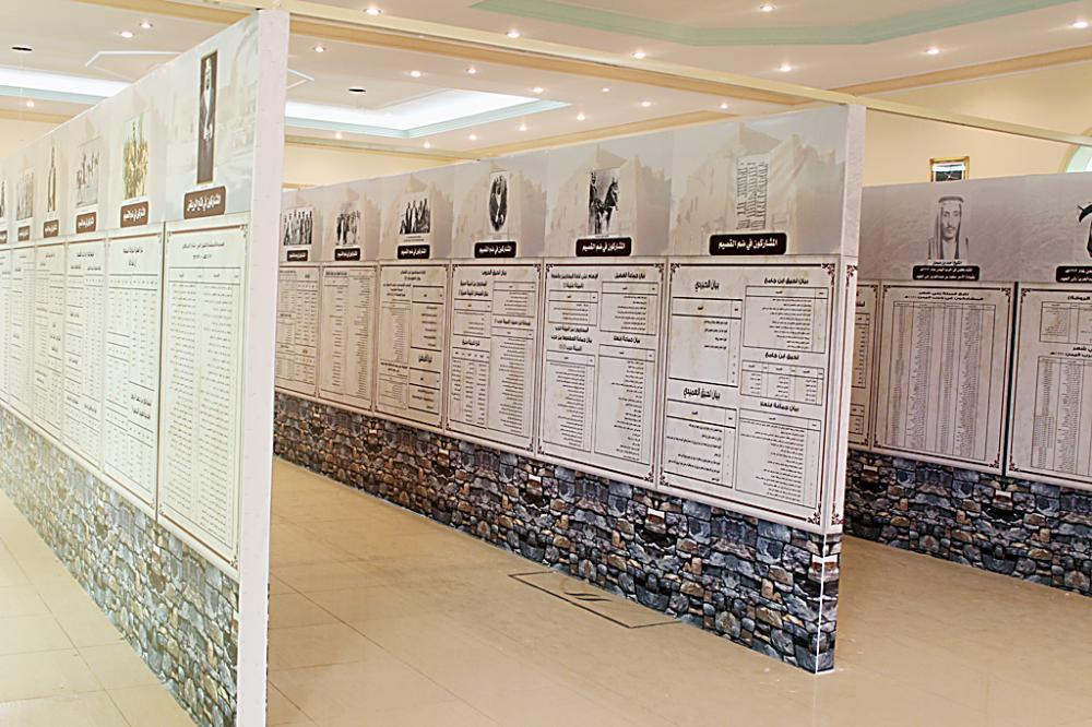 جداريات بأسماء المشاركين في الوحدة الوطنية في المعرض.