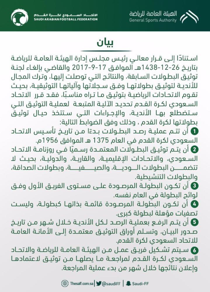 الاتحاد السعودي لكرة القدم يحدد الآلية المتبعة لعملية توثيق البطولات