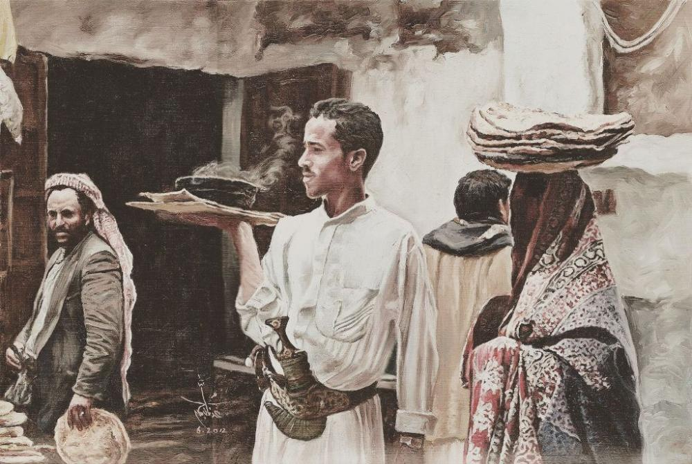لوحة أبرزتها المجلة للفنان اليمني عدنان جمن. (عكاظ)