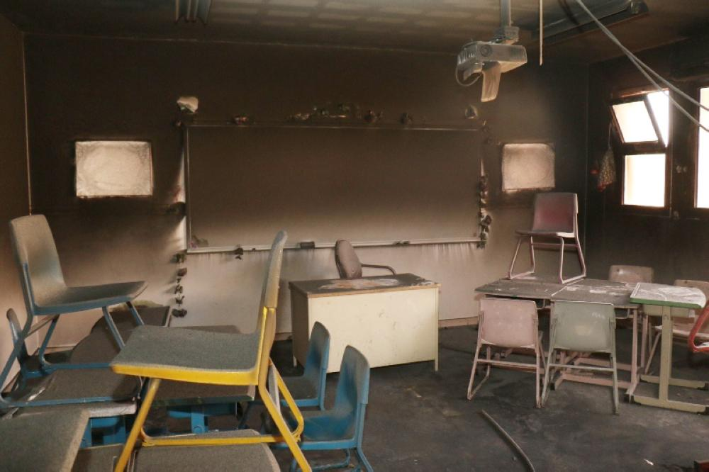 الفصل الدراسي كما بدا بعد الحريق.