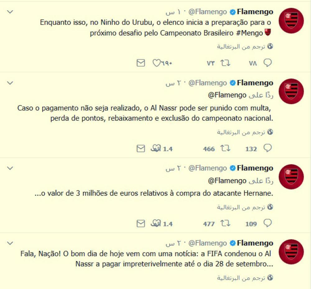 تغريدة سابقة لنادي فلامينغو البرازيلي الذي أكد أنهم كسبوا قضية لاعبهم أمام النصر.