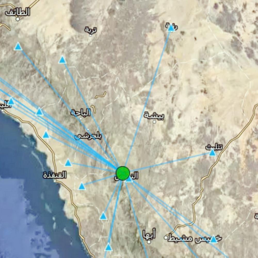 موقع الهزة الجديدة التي شهدتها النماص أمس، كما أعلنته هيئة المساحة الجيولوجية. (عكاظ)