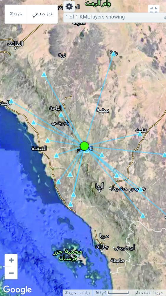 خريطة رصد الزلازل والهزات. (عكاظ)