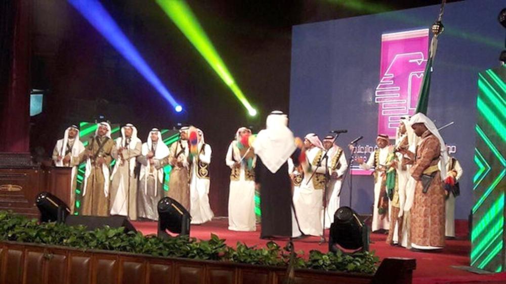 فرقة الفلكلور السعودي أثناء مشاركتها في مونديال القاهرة للأعمال الفنية والإعلامية.