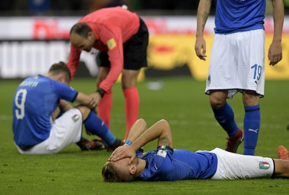 حزن لاعبي إيطاليا
