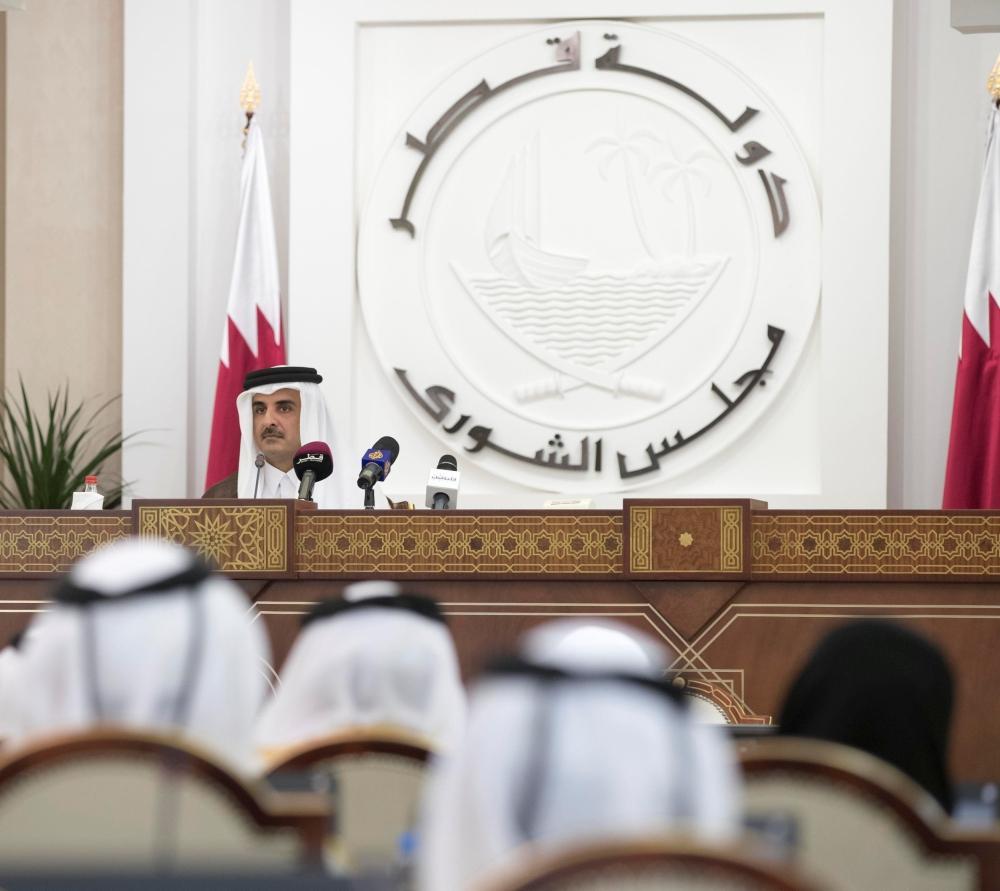 تميم خلال خطابه في افتتاح أعمال الدورة الـ46 لمجلس الشورى