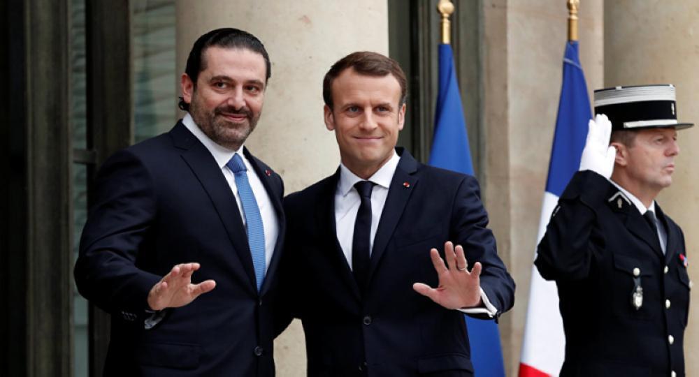 الرئيس الفرنسي يسقبل سعد الحريري.