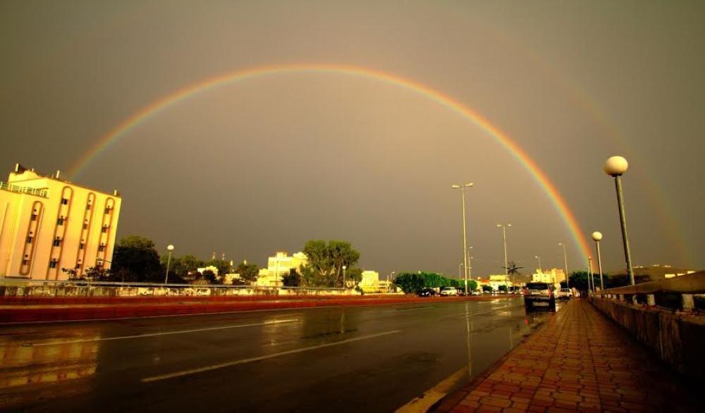 لقطة لقوس قزح في مدينة الباحة