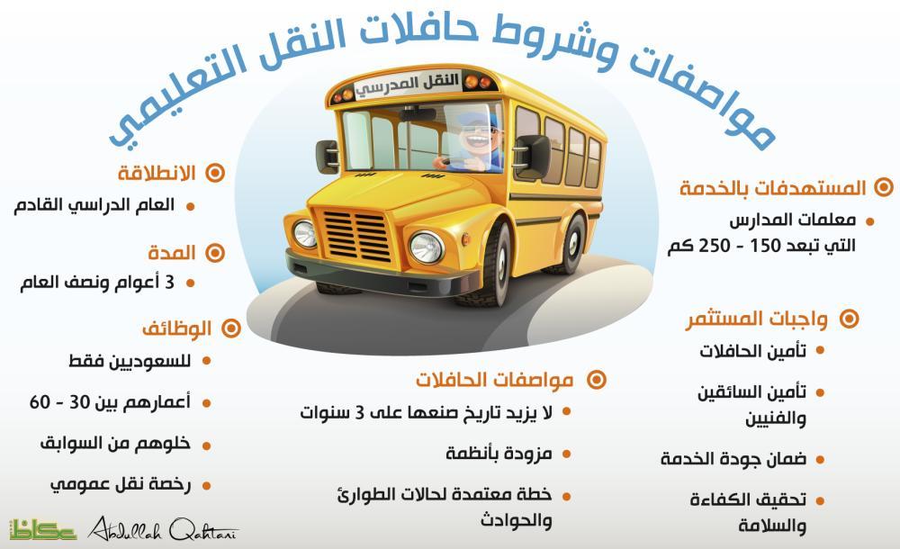 مواصفات وشروط حافلات النقل التعليمي