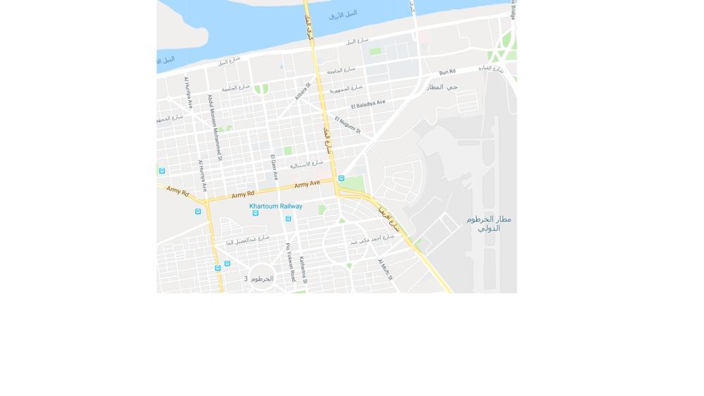 خريطة توضح طريق المك نمر المباشر من طريق مطار الخرطوم. (عكاظ)