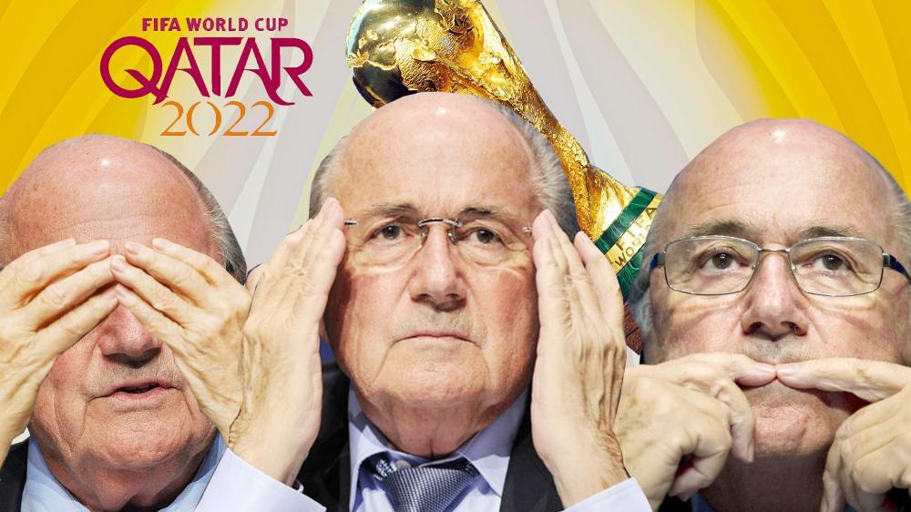 صورة رمزية لرئيس الفيفا السابق بلاتر الذي تحدث عن خفايا استضافة قطر للمونديال.