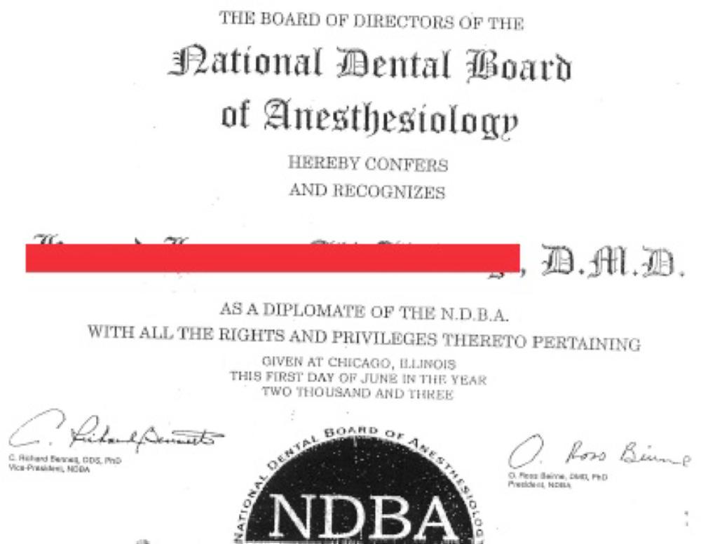 شهادة البورد في تخدير الأسنان التي عادلها الطبيب لتصنيفه استشاري جراحة وجه وفكين.