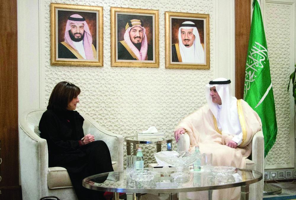 الجبير مستقبلاً رئيس مجموعة الصداقة البرلمانية الفرنسية مع دول الخليج أمس.