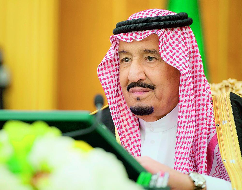 خادم الحرمين الشريفين مترئسا جلسة مجلس الوزراء أمس في الرياض. (واس)