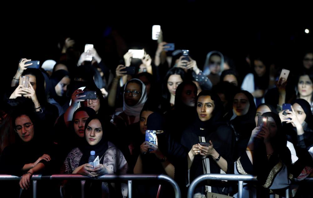 Women attend the jazz festival in Riyadh, Saudi Arabia February 23, 2018. REUTERS/Faisal Al Nasser