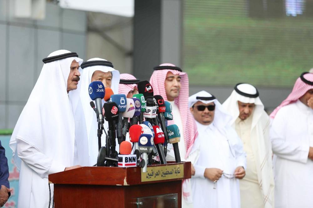 خالد المالك متحدثا في مقر نقابة الصحفيين العراقيين.