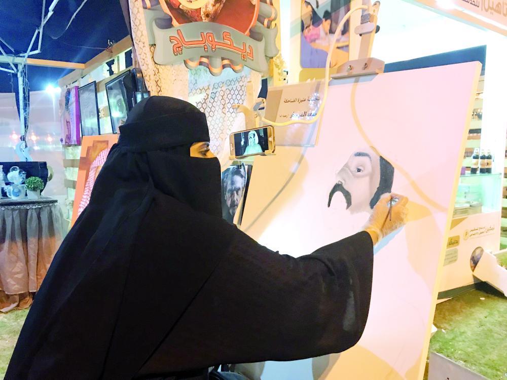 المحسن ترسم بريشتها الفنان الكوميدي الراحل سعد الخويطر. (عكاظ)