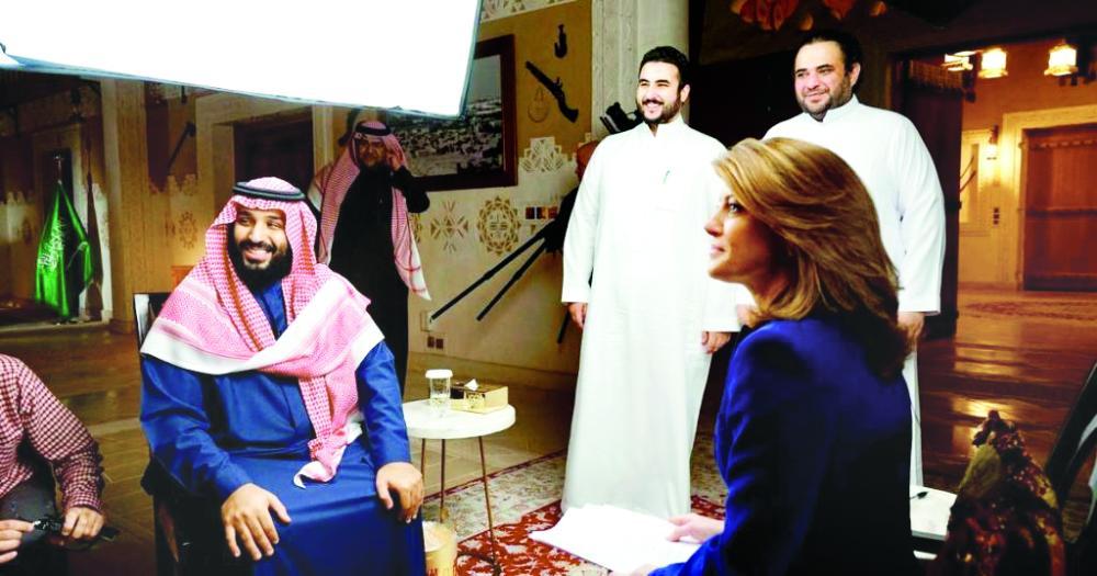 الأمير محمد بن سلمان أثناء تصوير لقائه التلفزيوني على شبكة CBS الأمريكية والمزمع بثها غدا الأحد.