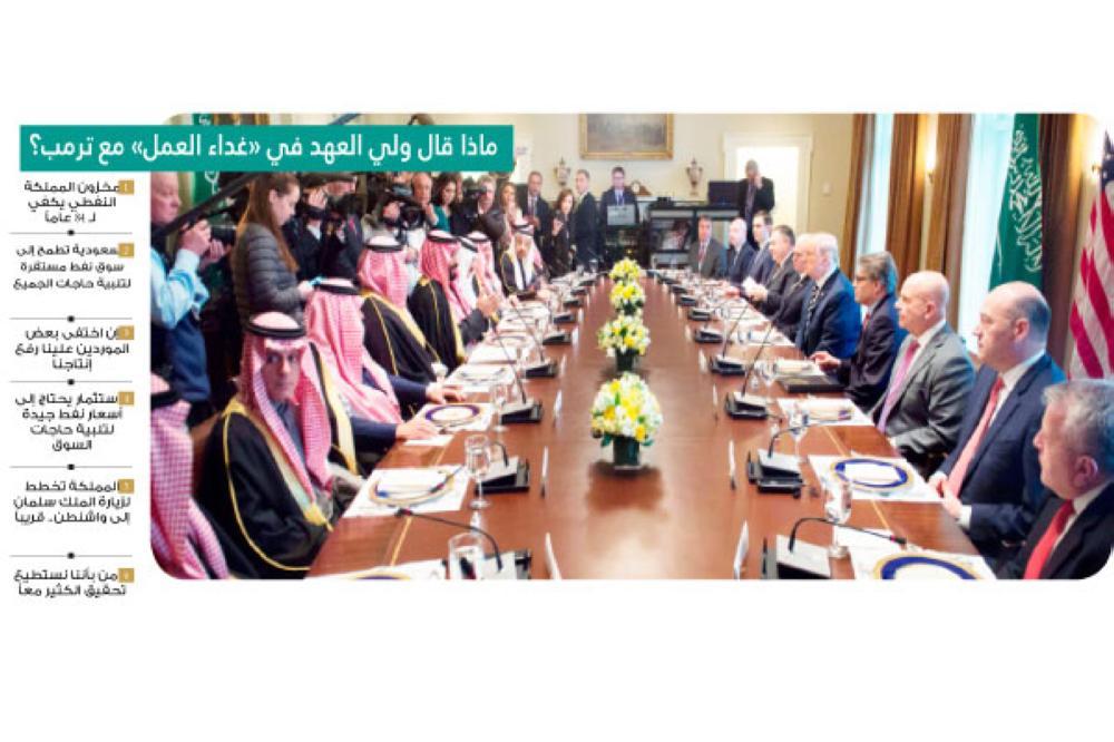 ولي العهد والرئيس الأمريكي في جلسة محادثات بحضور وفدي البلدين أمس الأول.