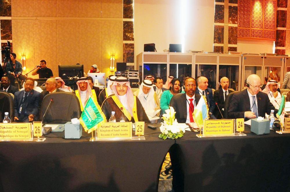 الجدعان خلال الاجتماع السنوي الـ43 لمجلس محافظي البنك الإسلامي. (عكاظ)
