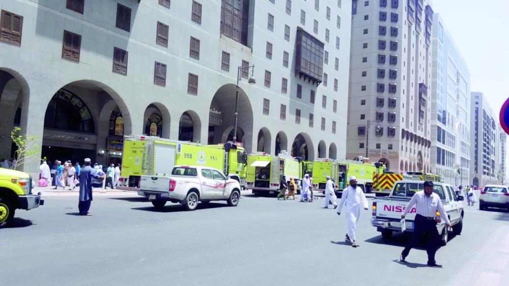 إخلاء نزلاء أحد الفنادق احترازياً بالمركزية الغربية نتيجة نشوب حريق. (عكاظ)
