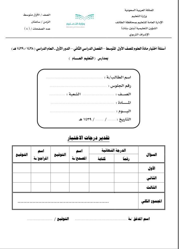 في أول أيام الاختبارات تسرب أسئلة العلوم المركزية أخبار السعودية