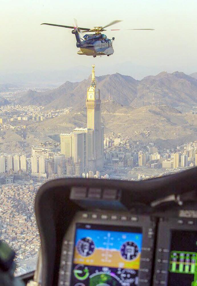 طيران الأمن خلال جولة في العاصمة المقدسة.