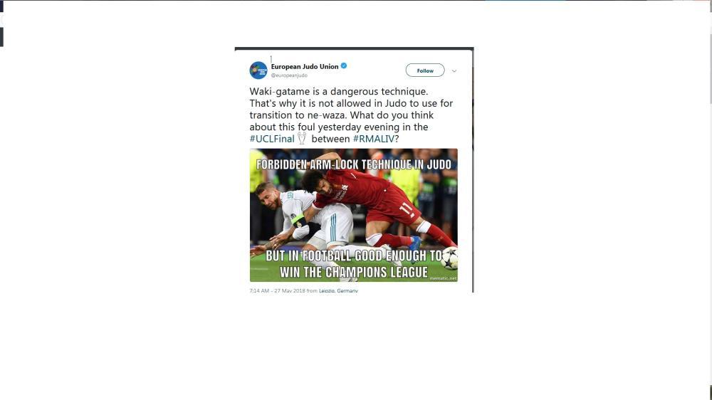 الاتحاد الأوروبي للجودو: حركة راموس أسلوب خطير «منع من لعبتنا»