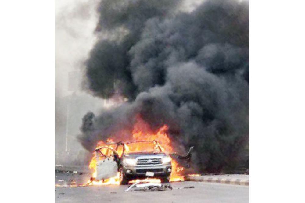انفجار مركبة في القطيف.