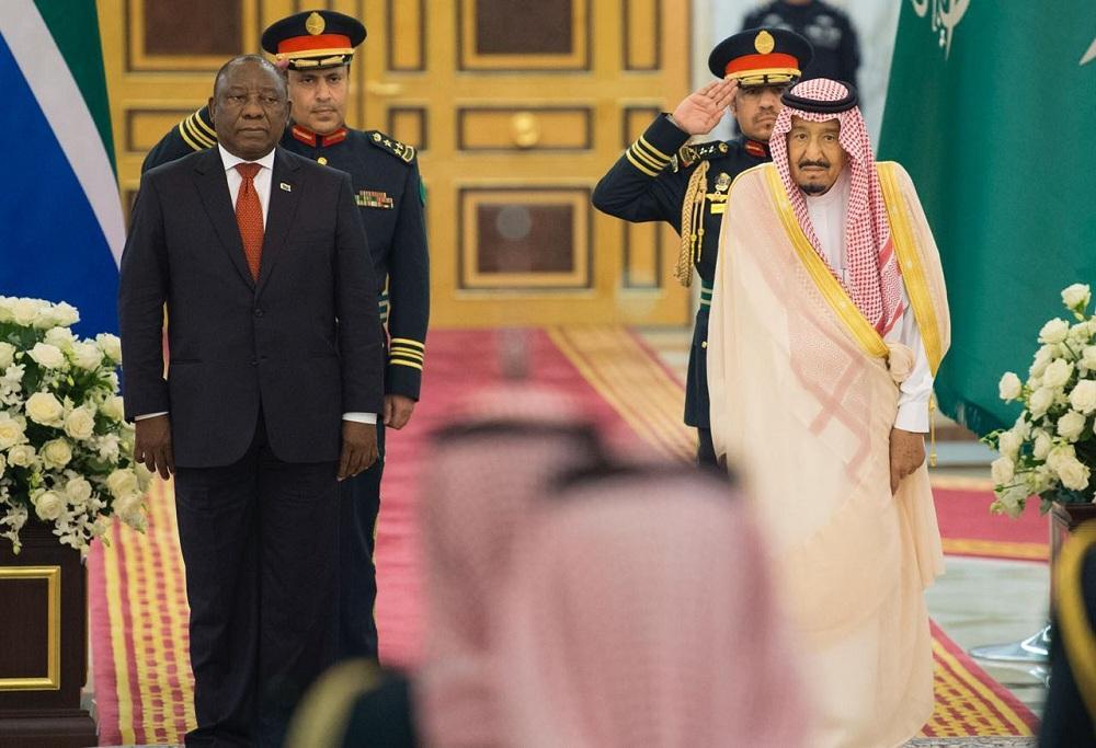 خادم الحرمين الشريفين لدى استقباله رئيس جنوب أفريقا.