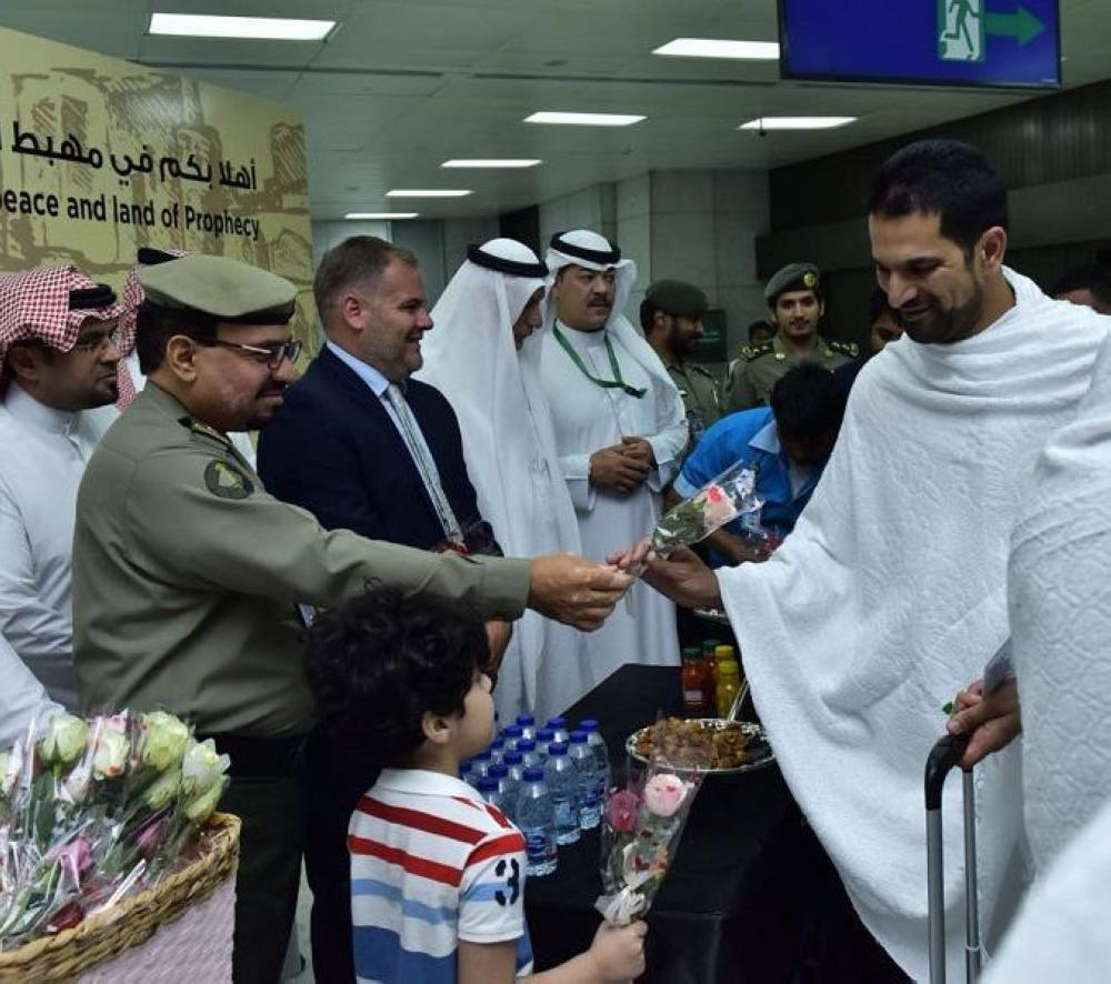 King Abdulaziz International Airport, the main gate for aerial flights related to performing Hajj, receives the first of them, coming from Manchester city, England.