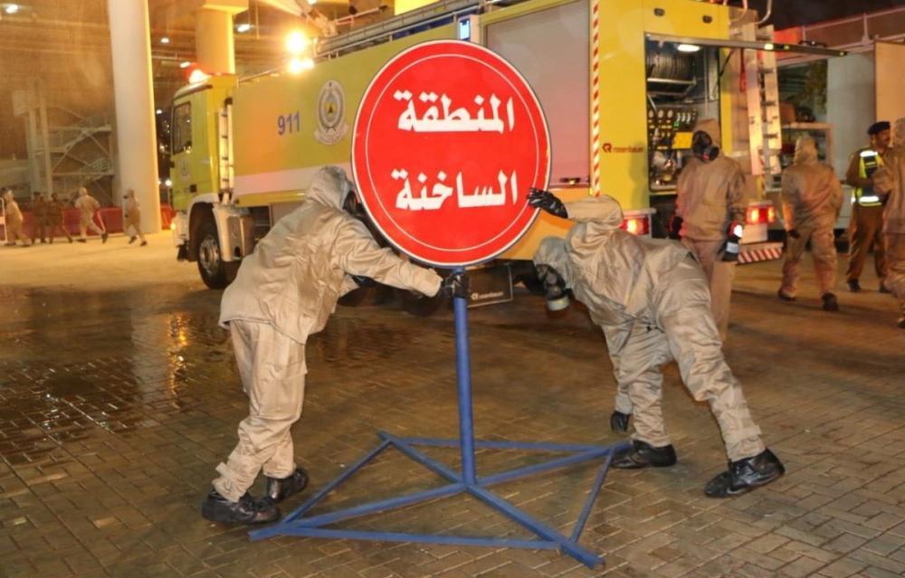 الدفاع المدني ينفذ تمرينات فرضية لمواجهة حوادث المواد الخطرة