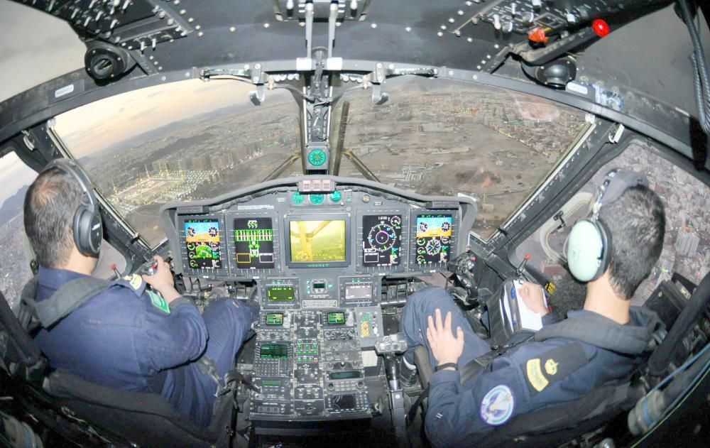 طيران الأمن خلال طلعة جوية على مشعر عرفات. (واس)