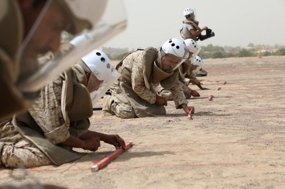 أعضاء من فريق مسام لنزع ألغام اليمن