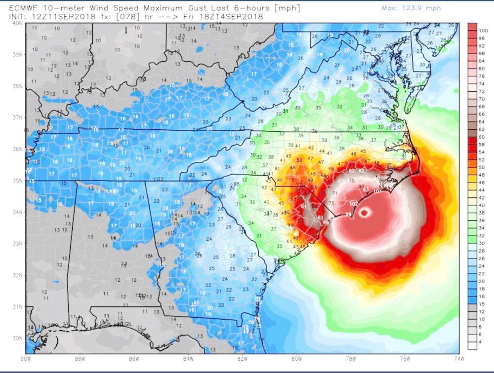 صورة لتحركات الإعصار وقوته.