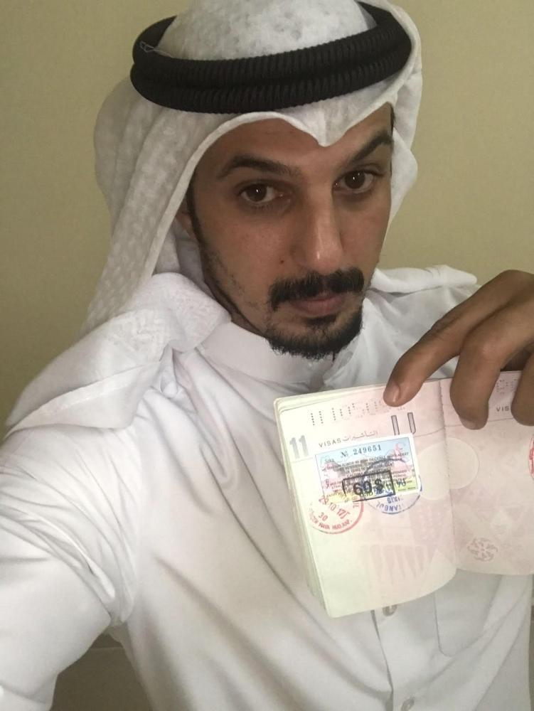 أحمد عقيل الظفيري  يوثق تاريخ دخوله وخروجه من تركيا في أكتوبر 2017.